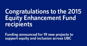Projects to enhance equity at UBC in 2015/16