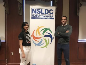 EIO student-staff members Nishthaa Lekhi (left) and Will Shelling (right) at the National Student Leadership Diversity Convention in New York City this past November.